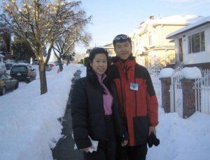Simon and Kelly at snow