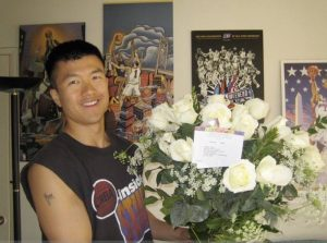Simon with flowers