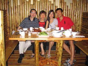 with Simon's parents