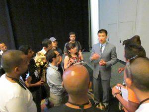 Simon teaching after speech