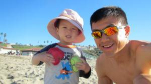 Simon and Ethan at the beach