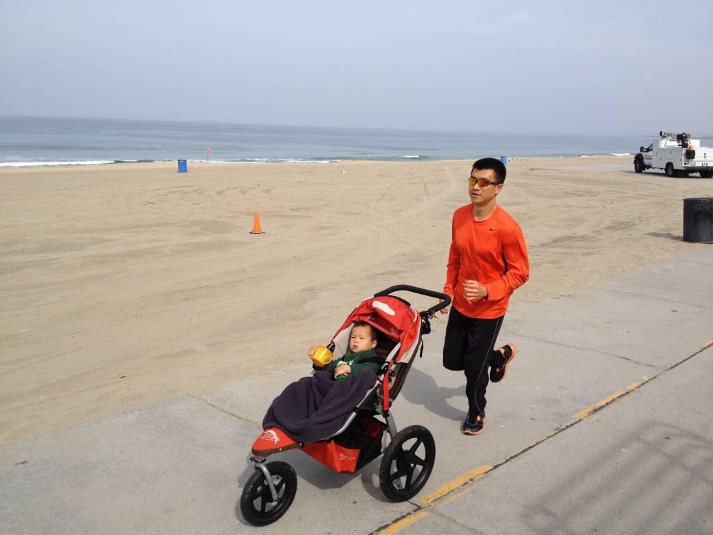 Simon running at the beach