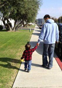 Simon and Ethan walking