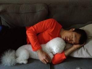 Simon nap with Obi