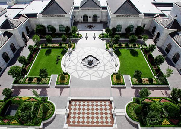 The courtyard at our Grand America hotel