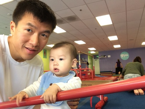 With Brendan at baby gym
