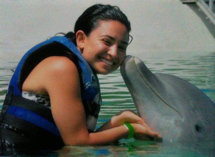 Aimee B with dolphin