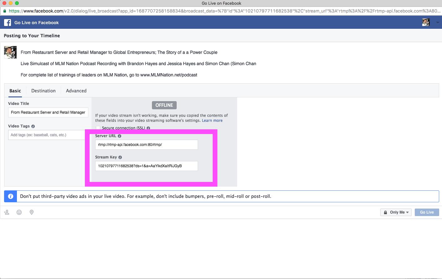 FB Facebook Live Stream Computer stream keys - MLM Nation