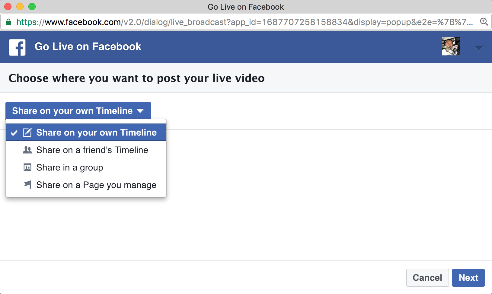 Choose where you want your Facebook Live stream to appear
