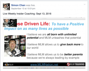 Facebook Live Stream of Weekly MLM Nation Insider Training done on private Facebook group